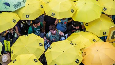 Activists hold yellow umbrellas outside Hong Kong Central Government Complex