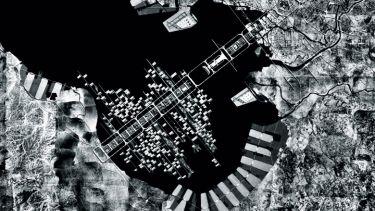 Aerial view of harbour in Tokyo, Japan