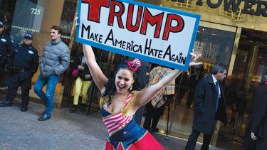 Anti-Donald Trump protestors demonstrating outside Trump Tower, New York