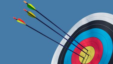 Arrows shot into archery target bullseye