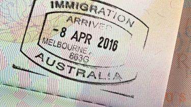 Australia immigration stamp