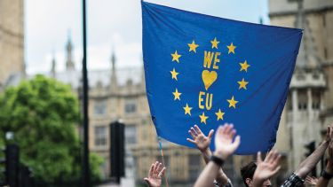 Brexit opponents holding 'We love European Union' sign