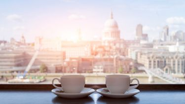 Coffee cups overlooking St Pauls, London