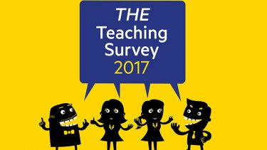 Illustration of four teachers sharing opinions for the THE Teaching Survey 2017