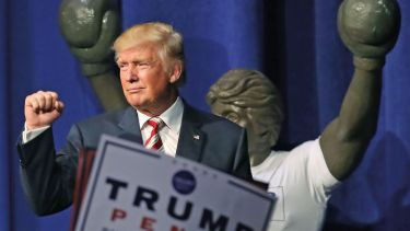 Donald Trump gestures to crowd after speaking at rally, Pennsylvania