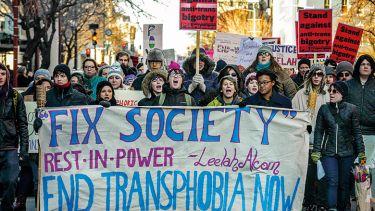 End transphobia demonstrators