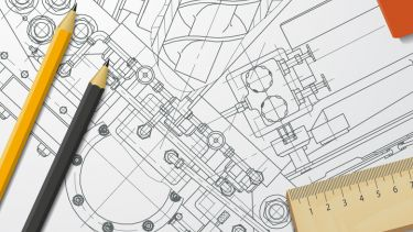 Engineering illustration on drawing board