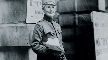 Flora Sandes standing in uniform