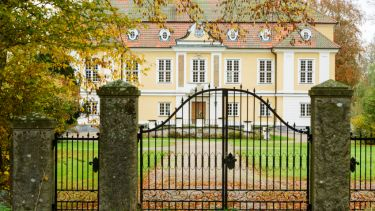 Johannishus castle in southern Sweden as seen from outside the iron gates