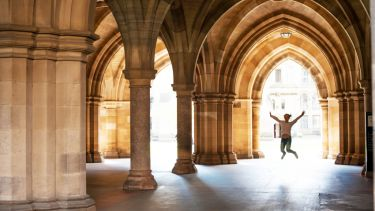 Happy student at Glasgow University, UK