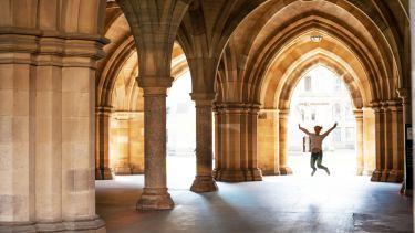 Happy student at Glasgow University, UK