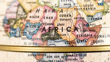 Globe showing map of Africa, Best universities in Africa