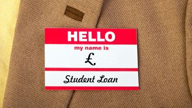 'Hello, my name is school loan' name badge