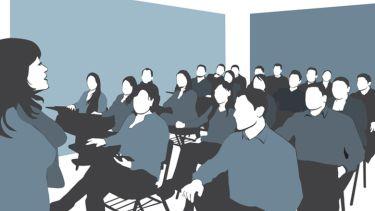 Illustration of a university seminar