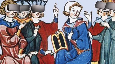 Illustration of medieval figures wearing VR headsets