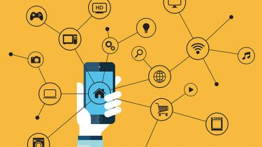 Illustration of person holding network-connected smartphone