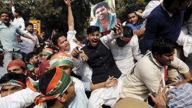 Indian Youth Congress (IYC) demonstrators, Indian Parliament, New Delhi, India