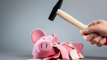 Broke, piggy bank, money, skint