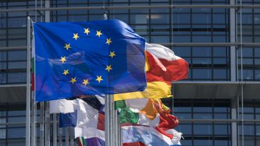 European Union (EU) flags flying