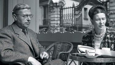 Jean-Paul Sartre and Simone de Beauvoir meeting over coffee