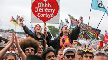 Jeremy Corbyn supporters at Glastonbury