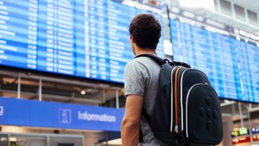 Male student looking at airport departures board