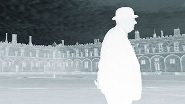 Man walking, University of Oxford campus, photo negative