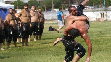 Men wrestling