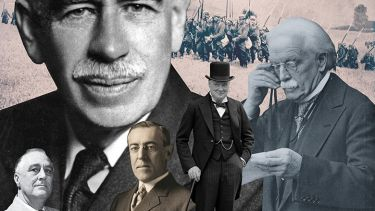 Montage of John Maynard Keynes, Franklin D Roosevelt, Woodrow Wilson, Winston Churchill and David Lloyd George
