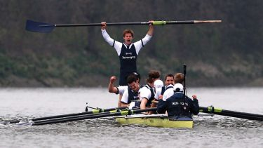 Moritz Hafner celebrates Oxford and Cambridge University Boat Race win