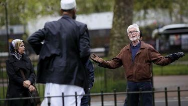 Muslim man being confronted