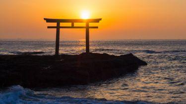 Oarai Isosaki-jinja Shrine at sunrise, Japan