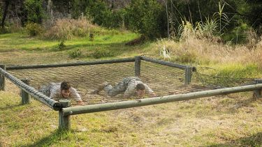 People crawling under a net