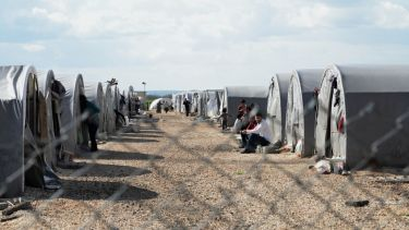 Kurdish refugees at a camp in Suruc, Turkey