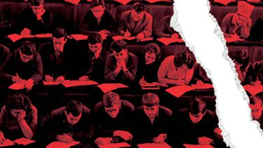 Ripped photo of students studying in lecture hall