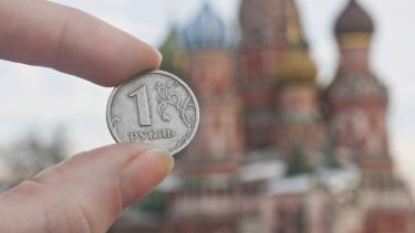 Ruble held by st.Basil's Cathedral
