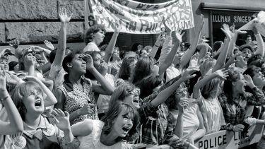 Screaming female Beatles fans
