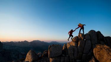 Climbing up mountain