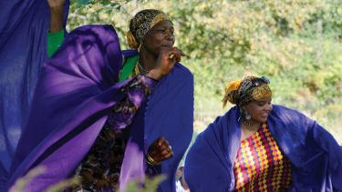 Somali women, harvest festival celebration, Maine