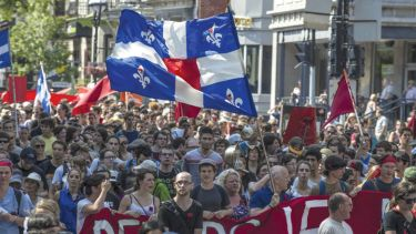 Student protesters marching through streets of Montreal