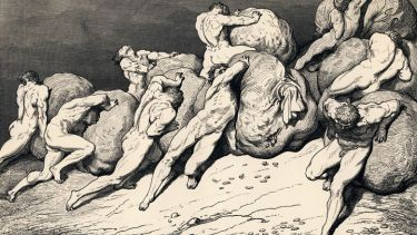 The Hoarders and Wasters illustration (1857), Divine Comedy, Dante Alighieri