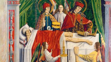 A painting showing Cosmas and Damian, the patron saints of medicine, replacing a patient's infected leg with the healthy leg of a person who had died