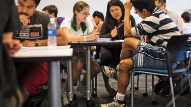 Students at Harvey Mudd College. Women and men and ethnic minorities.
