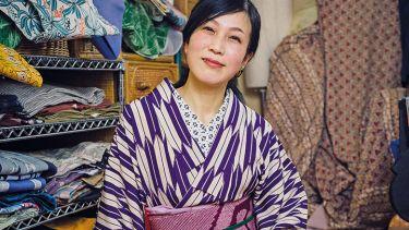A woman wearing a kimono