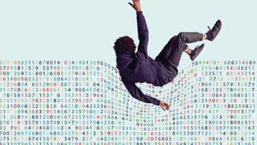 A man falling into a sea of numbers