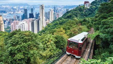 Tram travelling uphill, Victoria Peak, Hong Kong
