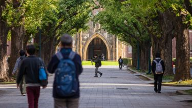 University of Tokyo students walking on campus
