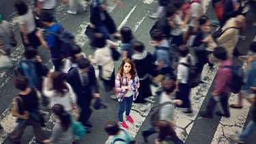 Woman in crowd