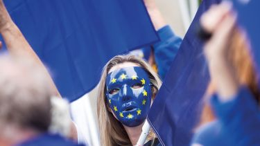 Woman in EU mask