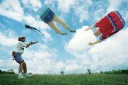 A man flying kites